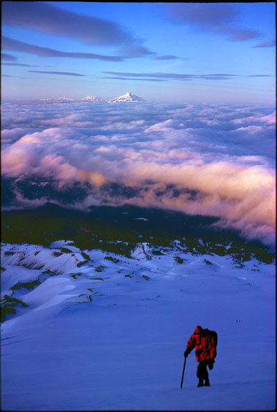 The peace and drama of the climber's high world is well-shown in this image from 8,500 ft. high on Oregon's Mt. Hood