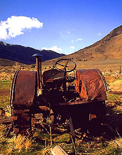 At the foot of Wildhorse Canyon in Harney County's Steens Mountain lies this beautiful iron tractor, burnished to a wonderful patina by the desert sun