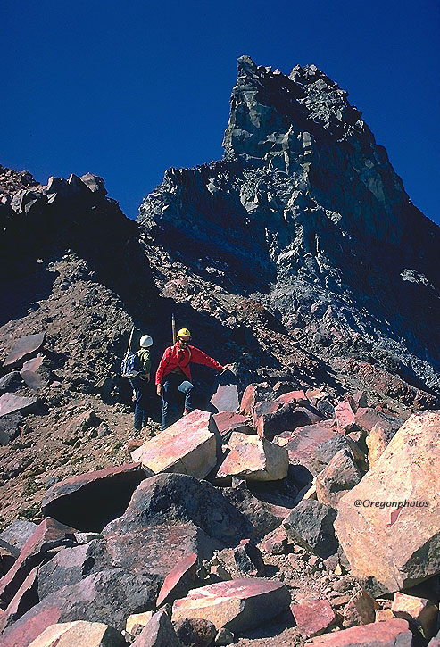 Spectacular Mountain climbing picture from summit of Mt. Jefferson in the Oregon Cascade Mountains